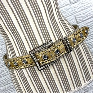 Vintage Rhinestone Embellished Gold Statement Belt
